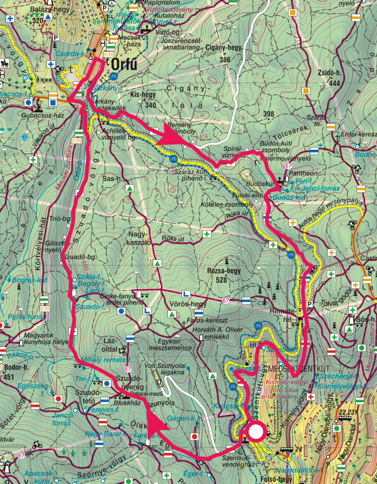 orfű térkép Mecseki körtúra a pécsi Szentkútról Orfűre » KirándulásTippek orfű térkép